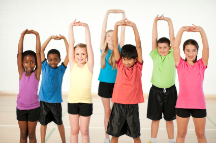 Diverse group of Children Stretching